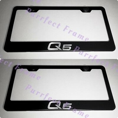 AUDI QUATTRO SPORT Black Stainless Steel License Plate Frame W/ Bolt ...