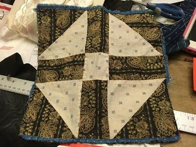 Moprimitivepast Antique 1880s Patchwork Quilt Block Early Fabric Handsewn More