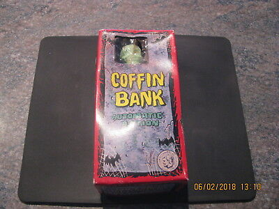 Wind-up Coffin Bank Made in Japan Vintage Tin Toy