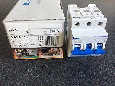Doepke Circuit-breakers, three-pole, Characteristic D, 63 A, 10 kA, f