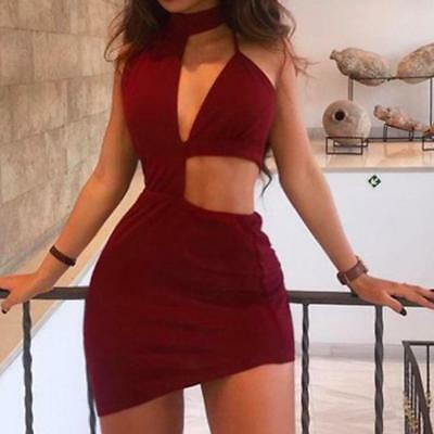 Women's Sexy Bandage Bodycon Sleeveless Backless Evening Party Club Slim Dress