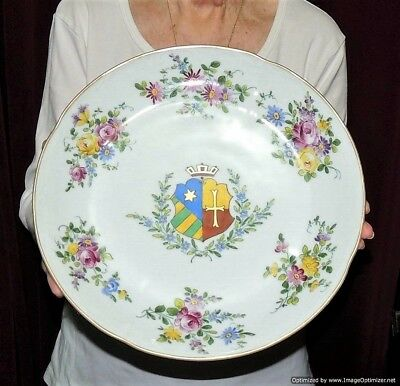 Antique Large Hand Painted Porcelain Coat of Arms Armorial  Plate C. Ahrenfeldt