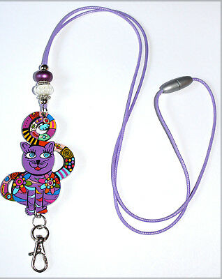Paisley Cat With Flowers Murano Beaded Lanyard / ID Badge or Cruise Card Holder