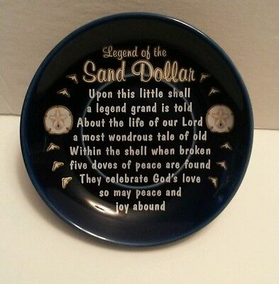 The Legend of the Sand Dollar Plate by agiftcorp. Cobalt Blue white gold color