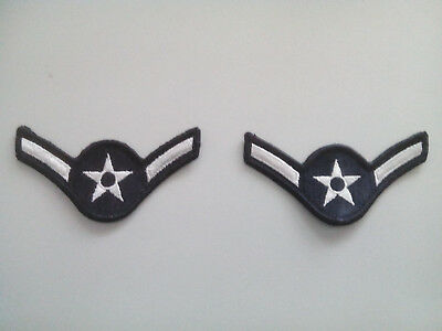 US AIR FORCE Rangabzeichen Patches Stoff blau//weiss für Dress Uniforms 2 x Orig