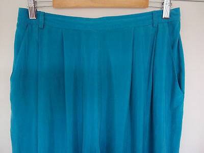 ANTHEA CRAWFORD vintage/RETRO 80s 70s silk like inspired blue mum pants, size 16