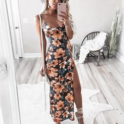 Fashion Womens Floral Printed Camis Backless Split Party Sexy Bodycon Long Dress