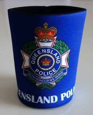 Qld Police Beer Stubby Cooler Holder Mancave Bar