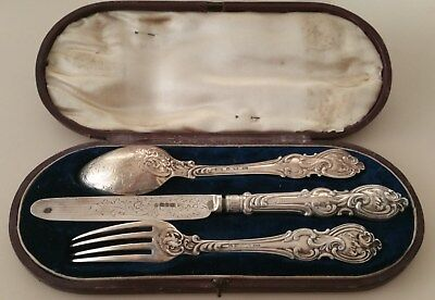 Antique Solid SILVER Boxed  Spoon, Fork And Knife SHEFFIELD 1871