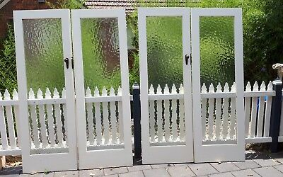 Two Matching Pairs Of Rebated Deco hardwood  obscure glass French Doors