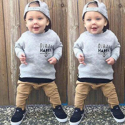 Toddler Kids Baby Boys Girls Infant T-shirt Tops+Long Pants Outfits Clothes Sets