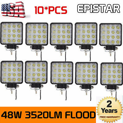 10X 48W Square LED Work Light Flood Lamp For Offroad Truck Tractor Boat 12V 24V
