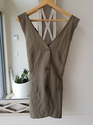 Womens SPORTSGIRL Vintage Khaki Linen Vest Size 12 Excellent Condition
