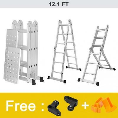 Finether 12.1 FT Extendable Aluminium Folding Ladder, Multi-Purpose Safety...