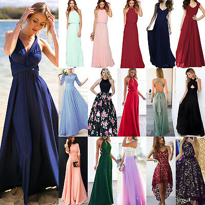 Women's Bridesmaid Wedding Formal Long Maxi Dress Cocktail Party Ball Gown Prom