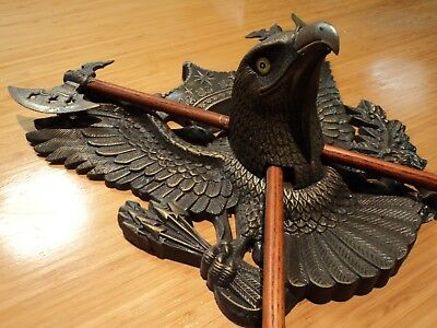 Vintage Ornamental Crossed Axes over Eagle Wall Mounted