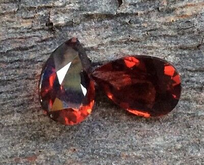 2 PC TEAR DROP SHAPE STUNNING NATURAL GARNET 10x7MM  LOOSE GEMSTONES