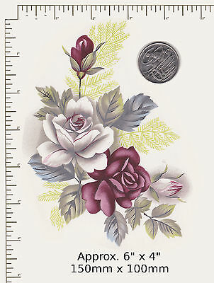 """1 x Waterslide ceramic decal Decoupage Burgundy / white roses 6"""" x 4""""  PD86a"""