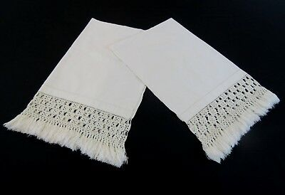 Two Antique Linen Chair Backs, Anti-Macassars, With Crochet Border and Tassels