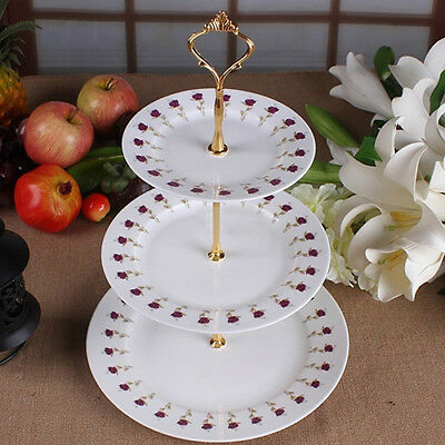 3-Tier Wedding Birthday Party Cake Plate Stand Sweets Tray Display Tower Brief