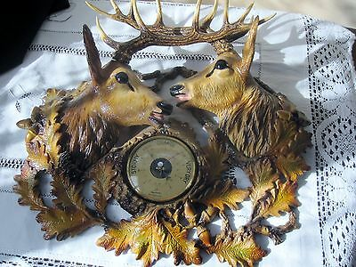Stunning And Hard to Find Complete TWIN DEER HEAD / BAROMETER ( PICK UP ONLY )