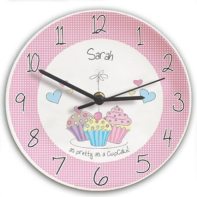 Personalised Cupcake Clock Any Name Gift for Girls Women Bedroom Kitchen Present