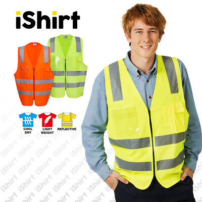 Hi Vis Vest Safety Vest Reflective Tape Zip Up And Id Pocket Safety Workwear