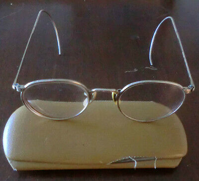 Vintage Gold Wire Rim Round Bifocal Eye Glasses w/Case B & L 12K 1/10 GF Arco