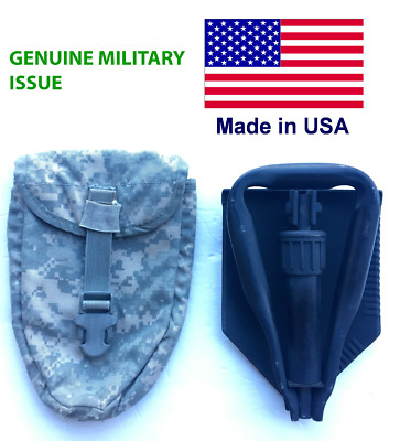 US Army Entrenching Tool Tri-Fold Folding Ames Shovel w Pouch Great Condition