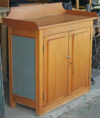 Lockable Restored Country Style 2 Door Meat Safe Cupboard Work Bench Pickup only