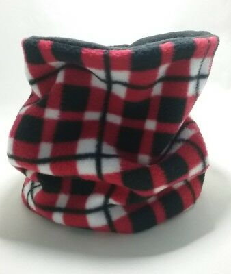 HANDMADE SNOOD neckwarmer tubular scarf double fleece adults/child red check