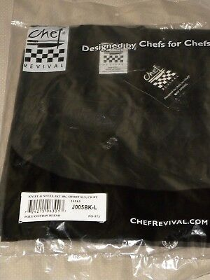 Brand New CHEF REVIVAL J005BK-L S/Sleeve Knife& Steel Black Chef Jacket Size L