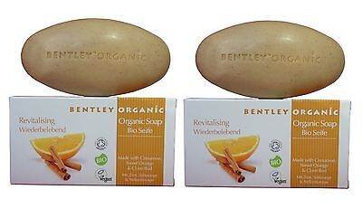 BENTLEY ORGANIC - REVITALISING SOAP BAR with CINNAMON- ORANGE- CLOVE BUD 2x150g