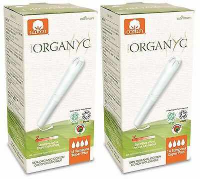 Organyc Organic Cotton Tampons With Applicator Super Plus 14 Tampons (Pack Of 2)