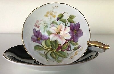 Rare! Aynsley Wide-Mouth Gold Cup Saucer Handpainted Clematis Signed G. Bentley