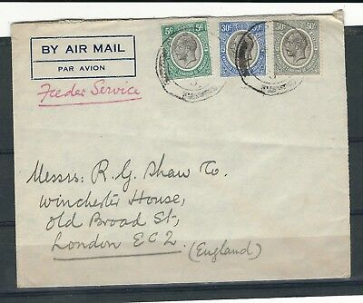 A23 Tanganyika to england special feeder service airmail cover to england