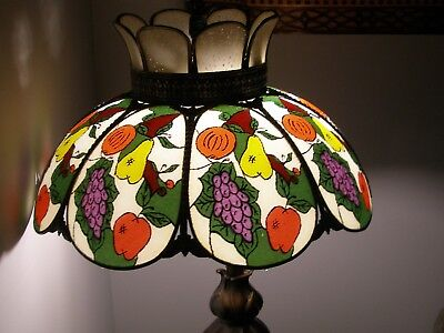 "FRUIT Hanging Lamp Shade Stained Glass (16"") Ceiling Light w/ Chain, Vintage"