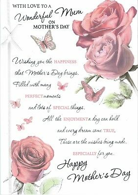 Wonderful MUM ~ Quality LARGE MOTHER'S DAY CARD Pink Roses Design