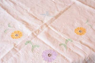 Vintage White Tablecloth Cutlace Flowers Butterflies Shabby Cottage 48x49 B2