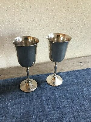 Silver Plate Wine Goblet, Hand Hammered, Beautiful, Vintage