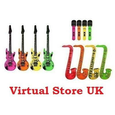 Inflatable Guitar/Saxophone/Microphone Blow Up Fancy Dress Party Bag Prop lot