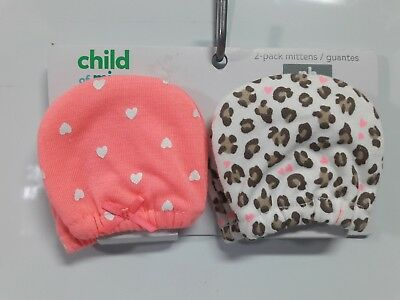 Child Of Mine By Carter's Newborn Animal Print Hearts Mittens/hand Covers