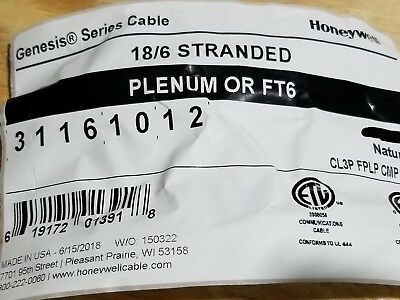 Honeywell Genesis 3116 18/6C Plenum Stranded Security/Control Cable White /100ft