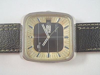 Rare Vintage Fortis True-Line Day-Date Automatic Swiss Made Men Wrist Watch
