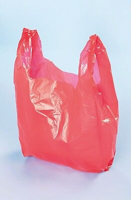 Plastic Vest Carrier Bags Red *all Sizes* - Supermarkets Stalls Shops