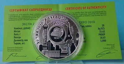 Belarus 20 Rubles 2010 Belarus – China EXPO–2010 Silver Silber Proof PP