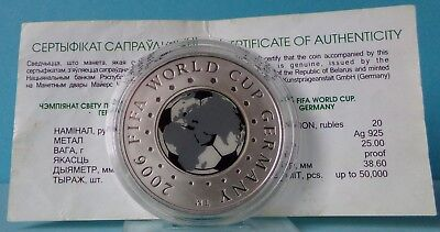 Belarus 20 Rubles 2005 2006 FIFA World Cup Fussball Football Silver Proof PP
