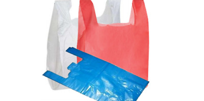 Plastic Vest Carrier Bags Red White Blue *all Sizes* - Supermarkets Stalls Shops