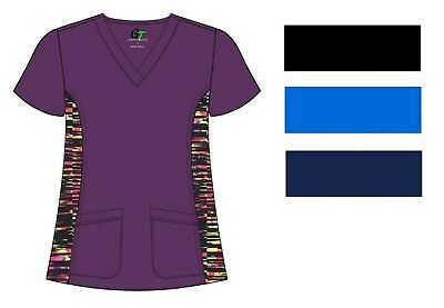 STRETCH Soft Petite Solid Scrub Top with Printed side panels XS-XL Medical NWT