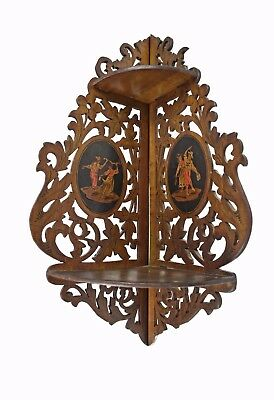 Antique Inlaid and Reticulated Folding Corner Shelf, Sorrento, Italy.